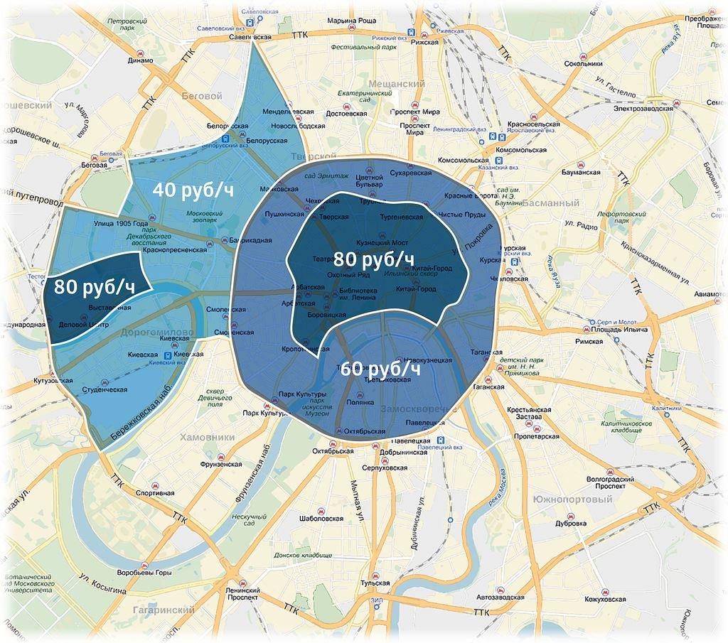 Зона платной парковки в Москве с декабря 2015 на карте