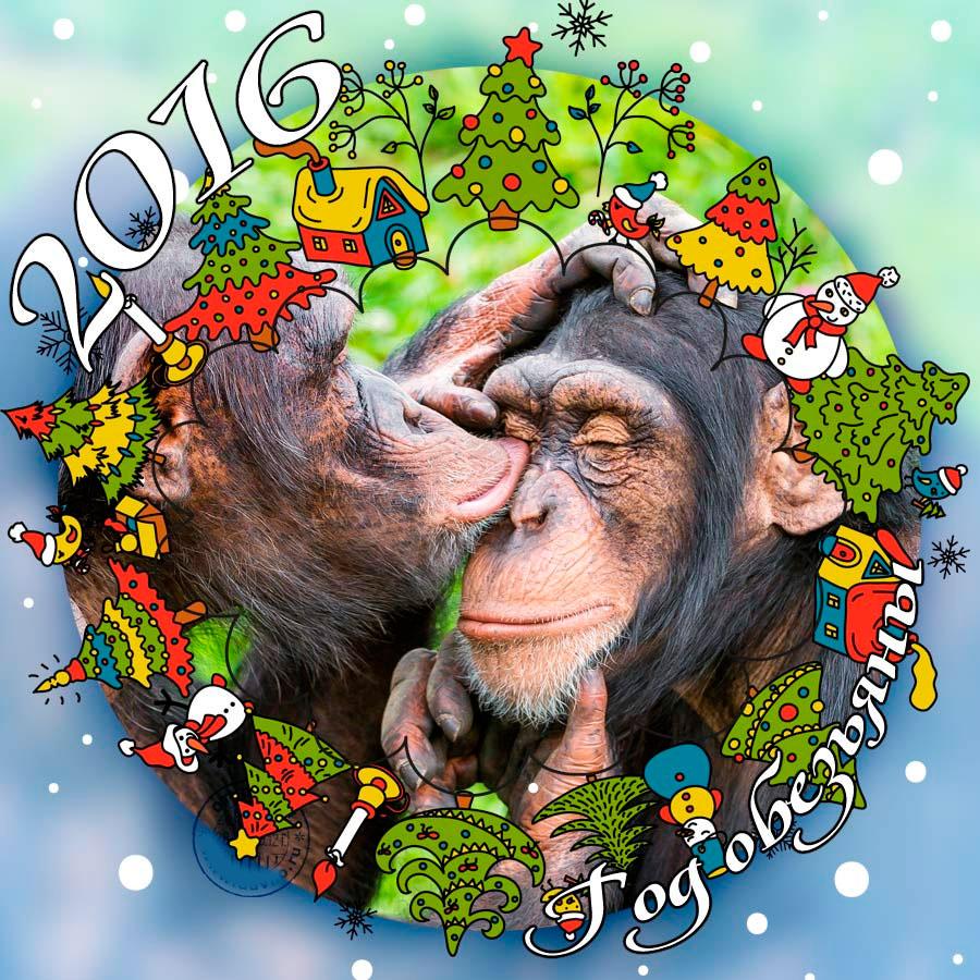 Вышивка, обезьяна открытка к новому году